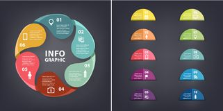 Vector colorful loop infographic. Template for diagram, graph, presentation and chart. paper flag stickers and labels Royalty Free Stock Photo