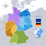 Vector Colorful Map of Germany. A High Detail vector Map of Germany States and major cities, with a 3D Globe centered on Germany and both Eu and Germany flags Stock Image