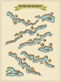 Vector map elements, colorful, hand draw - water, rivers, lakes, islands. Vector colorful map hand draw stock elements for fantasy map and board games Stock Images