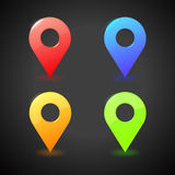 Vector colorful map markers. 3D illustration on black background. Stock Photos