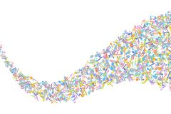Vector colorful music notations background element in flat style.  stock illustration