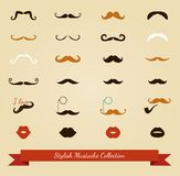 Vector colorful mustache icon set Royalty Free Stock Image