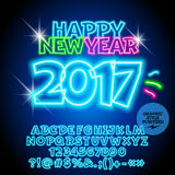 Vector colorful neon Happy New Year 2017 greeting card. With set of letters, symbols and numbers. File contains graphic styles Stock Photo