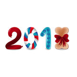 Vector colorful numbers 2018 with eight as bone with bow and two as sausage. Next new year template illustration Royalty Free Stock Photo