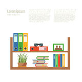 Vector colorful office desk with indoor plants Royalty Free Stock Photo