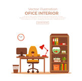 Vector colorful office desk with indoor plants Stock Image