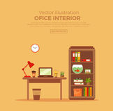 Vector colorful office desk with indoor plants Stock Photos