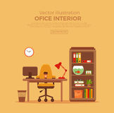 Vector colorful office desk with indoor plants Royalty Free Stock Photos