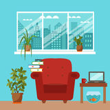Vector colorful office desk with indoor plants Stock Photo