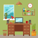 Vector colorful office desk with indoor plants Royalty Free Stock Images