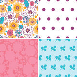 Vector colorful oriental flowers set of four Stock Images