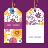 Vector colorful oriental flowers vertical stripe Royalty Free Stock Image