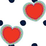 Vector valentines and polka dots seamless pattern background. royalty free illustration