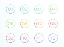 Numbered Outlined Bullet Points 1 to 12 Vector Royalty Free Stock Photos