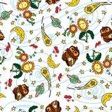 Vector colorful owl comet and moon repeat pattern with white background. Suitable for gift wrap, textile and wallpaper royalty free illustration
