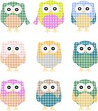 Vector of colorful owls isolated on white Royalty Free Stock Images