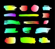 Vector Colorful Paint Smears, Neon Colors Brush Strokes Set, Isolated. royalty free illustration