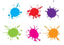 Vector Colorful paint splatter.Paint splash set.Vector illustrat. Ion. blue  red  green  pink  orange colour Stock Images