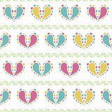 Vector Colorful Paisley Hearts Design on green seamless pattern background. royalty free illustration