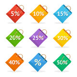 Vector colorful paper bag sale icon set. Flat Royalty Free Stock Photo