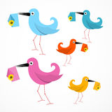 Vector Colorful Paper Birds Illustration Stock Photo
