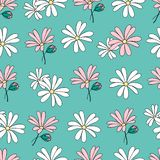 Vector colorful pattern with flowers and buds. Seamless floral pattern. White pink flowers with green buds on green blue background. Vector design illustration vector illustration