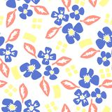 Pattern with flowers and leaves in scandinavian style stock illustration