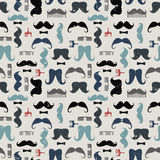Vector colorful pattern with mustaches, mustache combs and bows Royalty Free Stock Photos