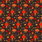 Vector colorful pattern with traditional elements of Chinese New Year. Bright Chinese New Year background.. Vector colorful pattern with traditional elements of vector illustration