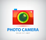 Vector colorful photo camera logo Royalty Free Stock Photos
