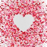 Vector colorful pink heart confetti frame design. Vector pink heart confetti frame design. Valentine`s day romantic background decoration Stock Images