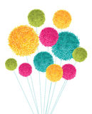 Vector Colorful Pom Poms Bouquet Decorative Element. Great for nursery room, handmade cards, invitations, baby designs. Royalty Free Stock Photos