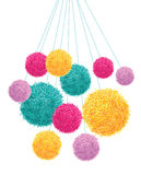 Vector Colorful Pom Poms Bunch Hanging Decorative Element. Great for nursery room, handmade cards, invitations, baby Royalty Free Stock Photography