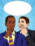 Vector colorful pop art comic style illustration of one businessman telling a secret information to his colleague. Portrait of two young handsome guys in suit vector illustration
