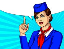 Vector colorful pop art style illustration with smiling stewardess keep finger pointing up. Beautiful woman wearing blue uniform with hat and scarf standing Royalty Free Stock Photo