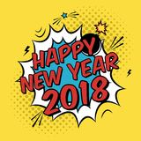 Vector colorful poster 2018 in pop art style with bomb explosive. Modern comics Happy New Year illustration with speech bubble and dots Stock Photo