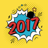Vector colorful poster 2017 in pop art style with bomb explosive. Modern comics New Year illustration with speech bubble and dots Stock Photos