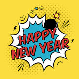 Vector colorful poster in pop art style with bomb explosive. Modern comics New Year illustration with speech bubble and dots Stock Photos