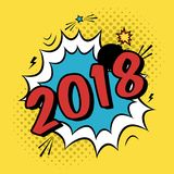 Vector colorful poster 2018 in pop art style with bomb explosive. Modern comics New Year illustration with speech bubble and dots Royalty Free Stock Photos