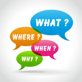 Vector colorful questions speech bubbles Royalty Free Stock Photo