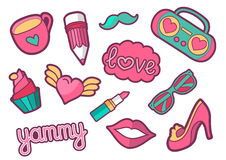Vector colorful quirky patches set. Pin trendy decoration labels for denim and textile. Vintage hippie style badges. Vector colorful quirky patches collection Stock Photography
