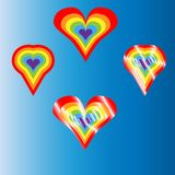 Vector colorful rainbow hearts icon - ideal symbol for homosexual love, marriage, partnership, sex. Concept icon vector Illustration set for St. Valentine`s Day Stock Photo