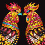 Vector colorful roosters - the zodiac symbol of the Chinese New year.  Design Print Template with decorative element . Vector colorful roosters - the zodiac Royalty Free Stock Photography