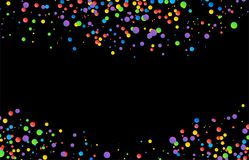 Vector colorful round confetti frame isolated on black background. Vector image Royalty Free Stock Photos