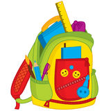 Vector Colorful School Bag. Vector Kids Backpack. With notebook, ruler and pencils. School bag vector illustration Stock Photo
