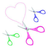 Vector Colorful scissors on a white background. Stationery short scissors with pink, blue and green plastic handle cut out the contour of the heart Royalty Free Stock Photography