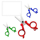 Vector Colorful scissors on a white background. Stationery short scissors with red, blue and green plastic handle cut out the contour of the heart Stock Image