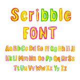 Vector Colorful Scribble Font, Isolated on White Background Type Set, Hand Drawn Alphabet. Vector Colorful Scribble Font, Isolated on White Background Type Set vector illustration