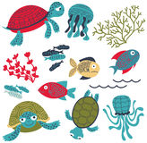 Vector colorful sea turtles with fish and corals set. Vector collection with colorful sea turtles with fish and corals. Marine life cartoon set. Sea animals and Royalty Free Stock Photo