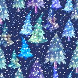Colorful seamless pattern with Christmas tree. Vector colorful seamless background with Christmas tree. Modern illustration. Can be used for wallpaper, pattern Stock Images